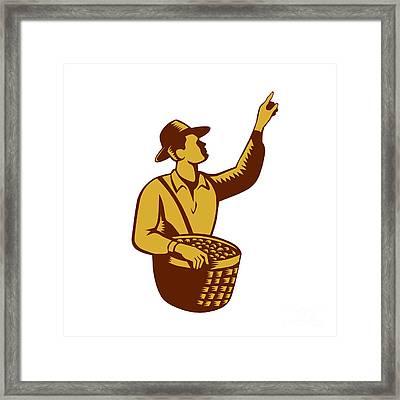 Fruit Picker Worker Pointing Woodcut Framed Print