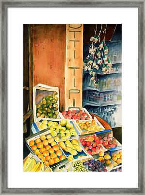 Fruit Shop In San Gimignano Framed Print by Judy Swerlick