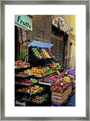 Framed Print featuring the photograph Fruit Stand  by Harry Spitz