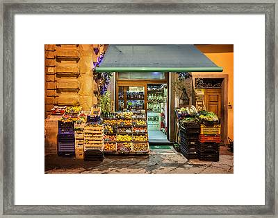 Fruit Stand In Tuscany Framed Print by Al Hurley