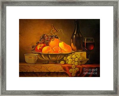 Fruit Table Buffet In Ambiance Framed Print by Catherine Lott