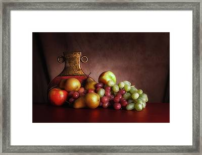Fruit With Vase Framed Print by Tom Mc Nemar