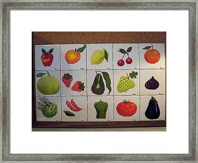 Framed Print featuring the ceramic art Fruits And Vegetables by Hilda and Jose Garrancho