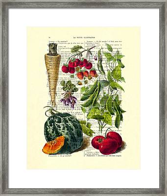Fruits And Vegetables Kitchen Decoration Framed Print by Madame Memento