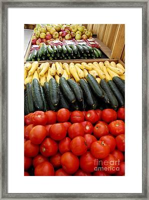 Fruits And Vegetables On Display 1 Framed Print