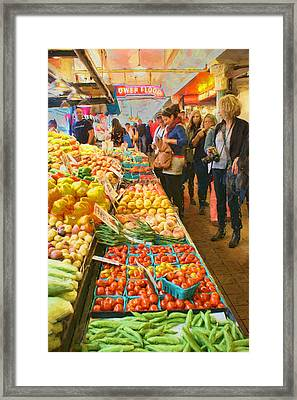 Fruits And Vegetables - Pike Place Market Framed Print by Nikolyn McDonald