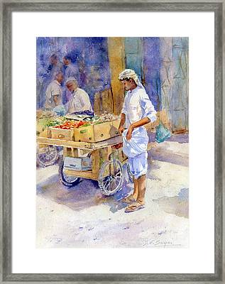 Fruitseller Jeddah Framed Print by Dorothy Boyer