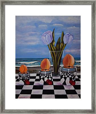 Fruity Day At The Beach Framed Print by Cynthia Bluford