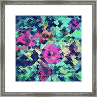 Fruity Rose   Fancy Colorful Abstraction Pattern Design  Green Pink Blue  Framed Print by Philipp Rietz