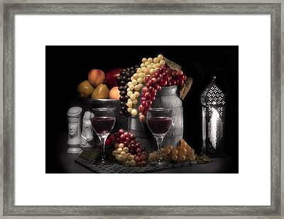 Fruity Wine Still Life Selective Coloring Framed Print by Tom Mc Nemar
