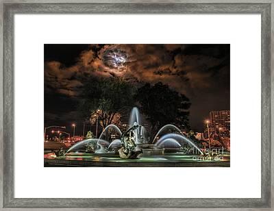 Full Moon At The Fountain Framed Print