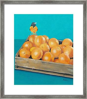 Framed Print featuring the painting Frustrated Oriole by Susan DeLain