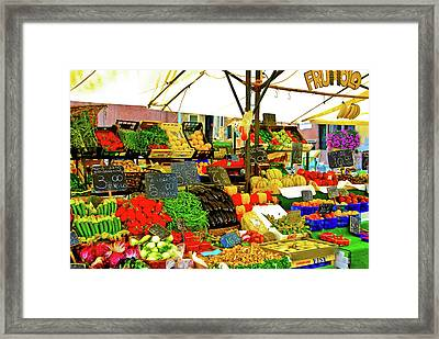 Framed Print featuring the photograph Fruttolo Italian Vegetable Stand by Harry Spitz