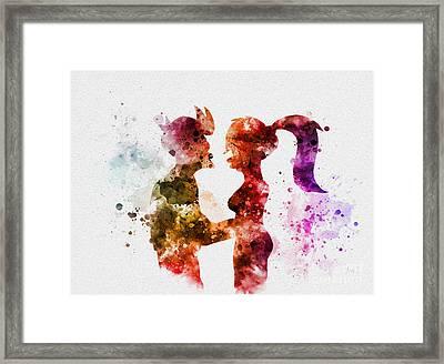 Fry And Leela Framed Print by Rebecca Jenkins