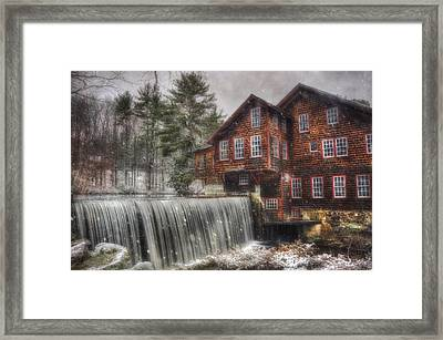 Frye's Measure Mill - Winter In New England Framed Print by Joann Vitali