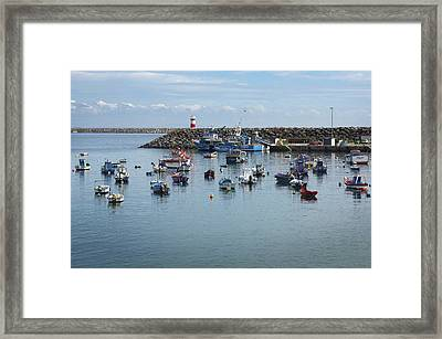 Fishing Boats In Sines Harbot, Portugal Framed Print