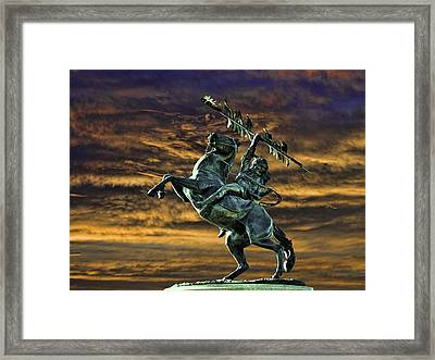 Fsu's Unconquered Renegade And Osceola Framed Print by Frank Feliciano
