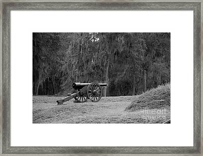 Ft. Mcallister Cannon 2 Black And White Framed Print