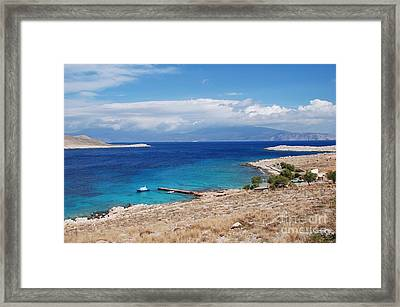 Ftenagia Beach On Halki Framed Print