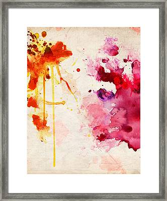Fuchsia And Orange Color Splash Framed Print