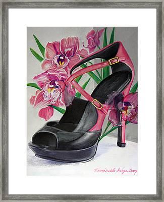 Fuchsia Orchid Colour Block Framed Print by Karon Melillo DeVega