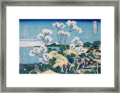 Fuji From Gotenyama At Shinagawa On The Tokaido Framed Print by Hokusai