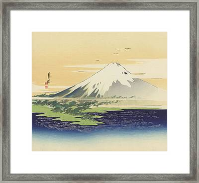 Fuji From The Beach At Mio Framed Print by Ogata Gekko