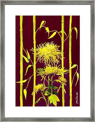 Fuji Mums And Bamboo Framed Print by Janis Grau