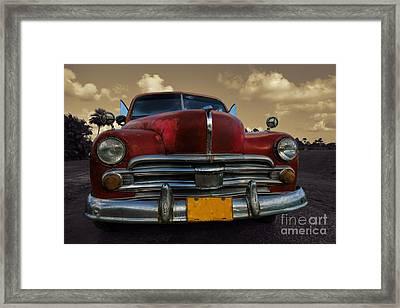 Full Classic Car In Rural Setting In Cuba Framed Print by Mikko Palonkorpi