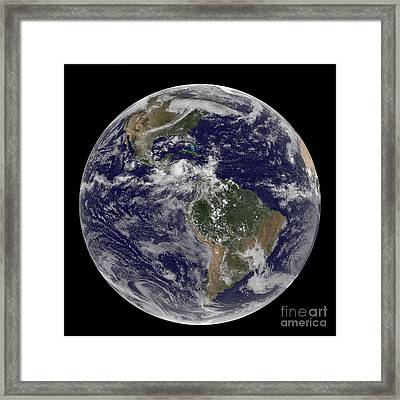 Full Earth Showing North America Framed Print by Stocktrek Images