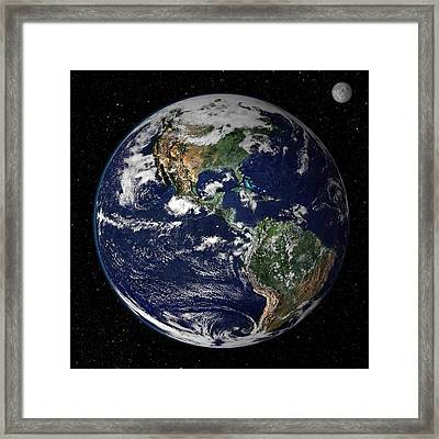 Full Earth Showing North And South Framed Print by Stocktrek Images