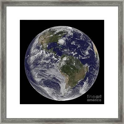 Full Earth With Hurricane Irene Visible Framed Print