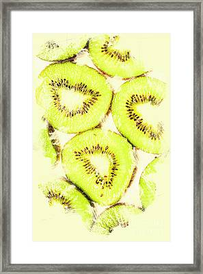 Full Frame Shot Of Fresh Kiwi Slices With Seeds Framed Print
