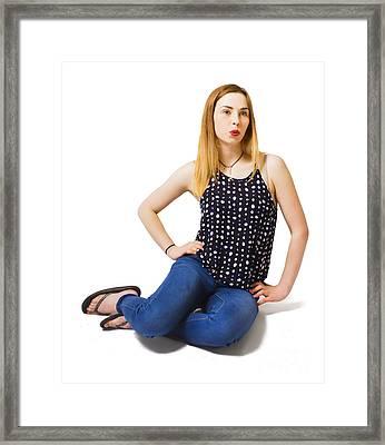 Full Length Glam Girl From 1980 Framed Print