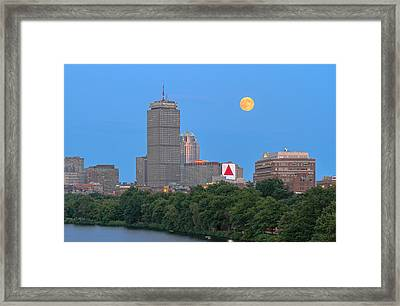 Framed Print featuring the photograph Full Moon Across Boston Skyline by Juergen Roth