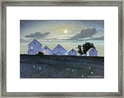 Full Moon And Fireflies Framed Print by Paul Breeden
