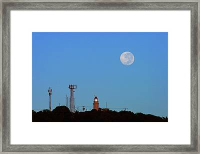 Full Moon And Lighthouse- St Lucia Framed Print by Chester Williams