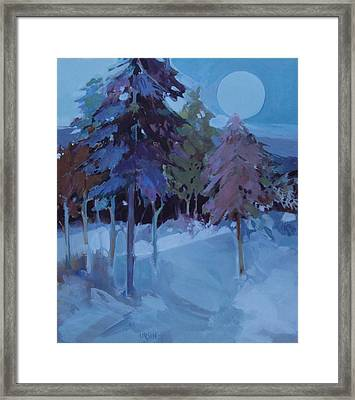 Framed Print featuring the painting Full Moon And Pines by Diane Ursin