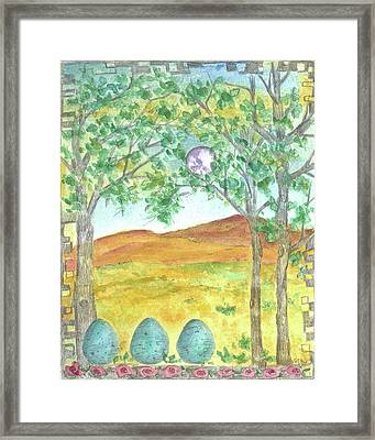 Framed Print featuring the drawing Full Moon And Robin Eggs by Cathie Richardson