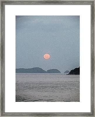 Full Moon At The Beach Framed Print