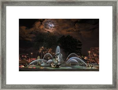Full Moon At The Fountain Framed Print