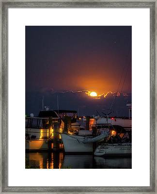 Full Moon At Titusville Framed Print