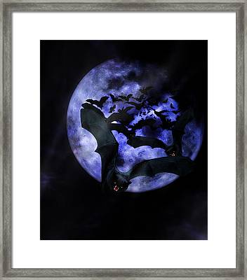 Full Moon Bats Framed Print by Gravityx9  Designs