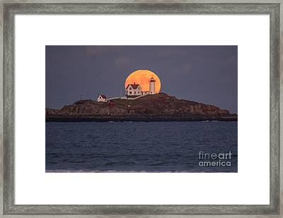 Full Moon Behind Nubble Framed Print by Benjamin Williamson