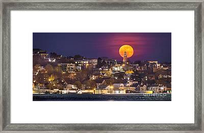 Full Moon Behind The Portland Observatory Framed Print