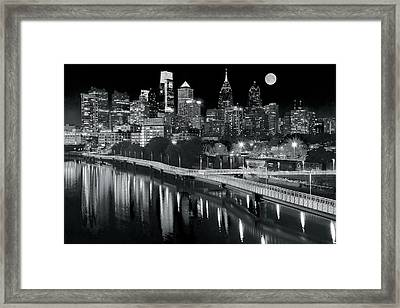 Full Moon Black And White In Philly Framed Print by Frozen in Time Fine Art Photography
