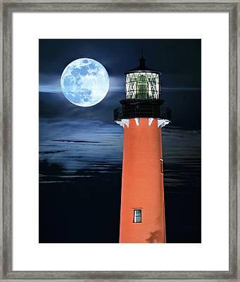 Full Moon Closeup Next To Jupiter Lighthouse In Florida Framed Print