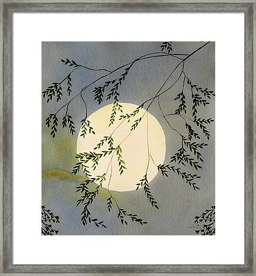 Moon And Tree Branch Painting Framed Print