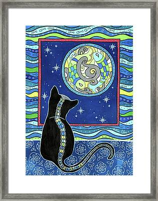 Pisces Cat Zodiac - Full Moon Framed Print