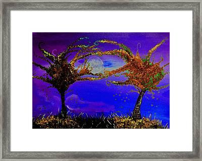 Full Moon Fall Night Painting Framed Print